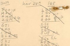 Alan Turing's notes recently discovered in a wall at Bletchley Park in Buckingshire.