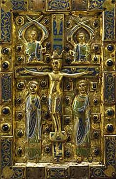 Plates Binding: Christ  in Majesty, Crucifixion Limoges, first quarter of the thirteenth century.