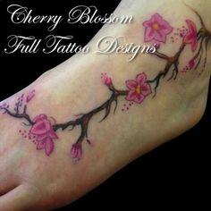 Cherry Blossom Tattoo On Foot Girl | Full Tattoo