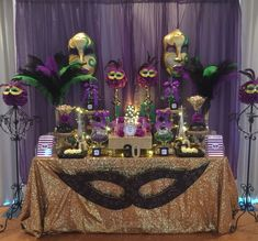 Candy Buffet in Purple, Green, Black and Gold. Candy Buffet in Purple, Green, Black and Gold. Mardi Gras Party Theme, Masquerade Party Decorations, Masquerade Ball Party, Mardi Gras Centerpieces, Mardi Gras Food, Masquerade Theme, Mardi Gras Decorations, Wedding Centerpieces, Wedding Decoration