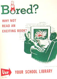 Vintage School Library Posters -- I love reading