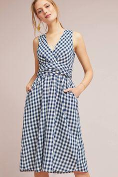 Grecca Gingham Midi Dress | Anthropologie