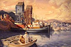 """Terminal Island Fish Harbor"" – Millard Sheets. 1935. Oil on canvas. Here the artist gives us a glimpse of the West coast fishing industry as it existed at Terminal Island in San Pedro, California before the outbreak of WWII."