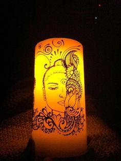 #Buddha #henna on candle By Catana