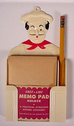 vintage plastic chef notepad holder