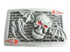 Bat wings belt buckle - Skull belt buckle - Ace of hearts belt buckle