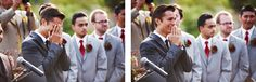 when the groom sees the bride coming down the isle.....priceless