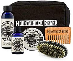 Ultimate Beard Care Kit by Mountaineer Brand Professional Hair Straightener, Canvas Travel Bag, Beard Conditioner, Beard Wash, Perfect Beard, Facial Cleansing Brush, Epic Beard, Wash Brush, Beard Grooming