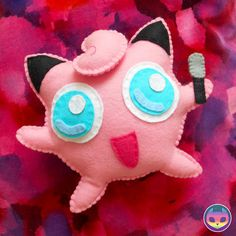 Anime Felt Plush Jigglypuff from Pokemon by ReinboNeko on Etsy, Felt Crafts Diy, Felt Diy, Diy Arts And Crafts, Sewing Crafts, Sewing Projects, Crafts For Kids, Easy Sewing Patterns, Felt Patterns, Craft Patterns