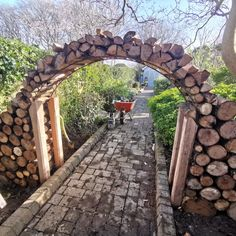 A Log archway Build, by Crafted Landscapes Wood Arch, Xeriscaping, New House Plans, Sandbox, Logs, Yard Ideas, The Great Outdoors, Garden Landscaping, Firewood