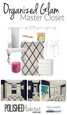 Master Closet Mood Board by Polished Habitat - Glam Organized Closet