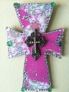 Handmade Wooden Cross  Pretty in Pink by TheGivingButterfly, $28.00