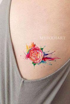 Women's Unique Small Melting Rose Rib Tattoo Ideas for Teen Girls Colorful Rainbow Watercolor Splat Side Tat - arco iris rosa costilla tatuaje ideas para mujeres - www.MyBodiArt.com #tattoos