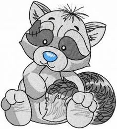 Raccoon embroidery design. Machine embroidery design. www.embroideres.com