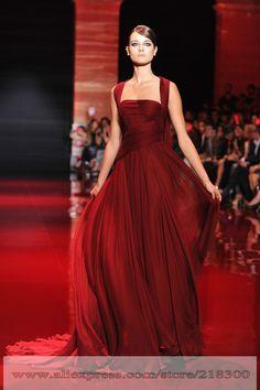 2014 Elie Saab Burgund Prom Kleid Watteau Zug Fließenden Rock Faltete CHiffon Prom Kleid Haute Couture Real sample pic(China (Mainland))