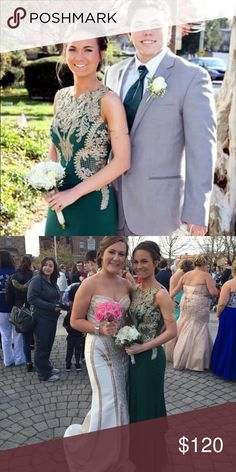 Selling my prom dress! Worn once. It's a size 4, but the material is stretchy so it could fit a size bigger or smaller. It has a short train in the back that can be pinned up like it is in the picture. Dresses Prom