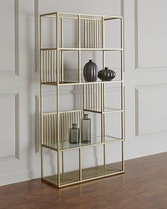 Shop Radner Brass Patina Etagere at Horchow, where you'll find new lower shipping on hundreds of home furnishings and gifts. Metal Bookcase, Metal Shelves, Glass Shelves, Brass Shelving, Shelving Units, Wall Shelves, Bookshelves, Metal Furniture, Home Furniture