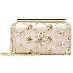 Oscar de la Renta Bisque Embroidered Satin Saya Minaudière ($2,080) ❤ liked on Polyvore featuring bags, handbags, clutches, chain-strap handbags, chain handbags, pink handbags, chain purse and sparkly purses