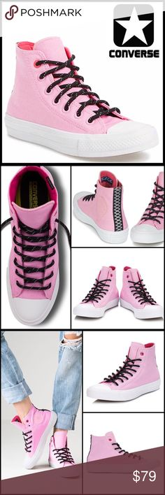 CONVERSE STYLISH SNEAKERS WaterRepellent Hi Top CONVERSE STYLISH SNEAKERS Water Repellent Shield Hi-Tops   SIZING: UNISEX, Men's size 5 , women's size 7  COLOR: Icy Pink, White , Black  * New w/original box *  ABOUT THIS ITEM   * Round toe   * Lace up vamp   * Stripe outsole accent   * Mega padded removable sole   * Cushy water repellent lining MATERIAL Textile upper, synthetic sole   ❌NO TRADES❌ ✅BUNDLE DISCOUNTS✅ OFFERS CONSIDERED ITEM# SEARCH WORDS # chuck Taylor All Star II wedge…