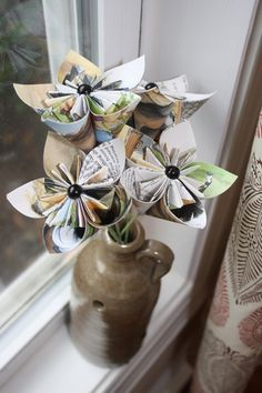 upcycled paper flowers from old books!