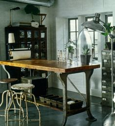 Amazing home study with ivintage industrial and metrical artifacts..