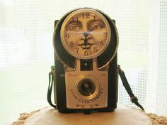 Vintage Brownie Starflash  Camera Clock with Moon Face