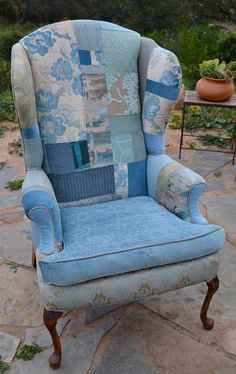 Blue Patchwork Wingback Chair by AllThingsReCreated on Etsy