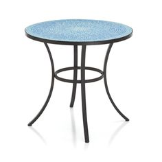 Radiant burst of aqua cools into deeper blues on our sun-kissed mosaic table, intricately laid of hand-cut glass tiles.  Nearly 3,400 tiles are painstakingly cut and laid in the round by a pair of highly skilled artisans, who have spent six months of extensive training before executing this striking composition.  Mosaic top sits on an elegantly flared-leg frame in matte black iron.  Due to its handcrafted nature, each table displays its own unique configuration of tiles.