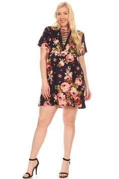 Brushed Cap Sleeve Lace Up Dress: Navy Rose Floral (Plus)