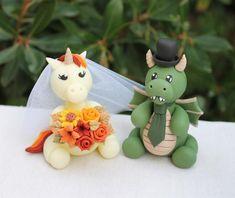 Dragon Wedding Cake, Fall Wedding Cakes, Autumn Wedding, Groom Colours, Unicorn Wedding, Funny Wedding Cake Toppers, Unicorn Cake Topper, Wedding Colors, Etsy