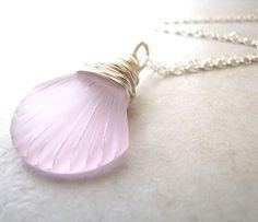 Sea Glass Seaglass Necklace Sea Shell Seashell by BellinaCreations, $30.00