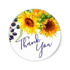 Bright Sunflowers Rustic Thank You Classic Round Sticker - shower gifts diy customize creative Thank You Pictures, Thank You Images, Jw Gifts, Thank You Gifts, Thank You Messages Gratitude, Teacher Appreciation Cards, Appreciation Quotes, Diy Gift Box, Custom Stationery