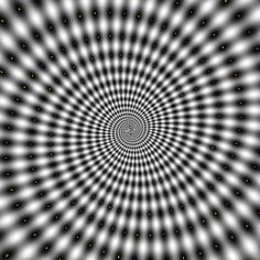 This hypnosis illusion makes the person looking at it feel disoriented, as if they are travelling down a moving spiral to the centre of the image. The hypnotic optical illusion appears to be moving when in fact it is staying still. Cool Optical Illusions, Art Optical, Funny Illusions, Optical Image, Illusion Kunst, Illusion Art, Op Art, Formation Hypnose, Art Web