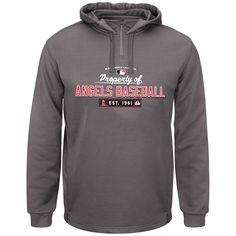 Majestic Los Angeles Angels of Anaheim Authentic On-Field Property Of Performance Quarter-Zip Hoodie - Charcoal - $55.99