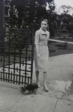 Audrey Hepburn walking her Yorkie, Mr. Famous in Rome, Italy 1959