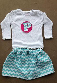 Personalized Chevron skirt and shirt set by Madebyjoli on Etsy, $32.00