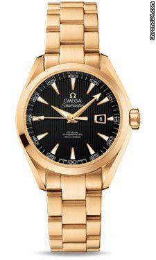 Omega Seamaster Aqua Terra Automatic 34 mm Yellow Gold $21,325 #Omega #watch #watches #chronograph yellow gold case with yellow gold bracelet, automatic movement