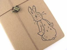 Peter Rabbit - Beatrix Potter - Hand Stamped Small Moleskine Notebook with Watering Can Charm - Design B - Available in BLANK or LINED Pages...