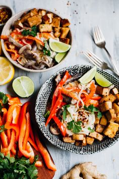 Get the recipe for these vegan thai-style coconut lime noodles topped with savory fried tamari tofu! An easy recipe made with common ingredients.