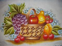 PINTURA EM TECIDO Food Painting, One Stroke Painting, Fabric Painting, Decoupage, Image Nature, Fabric Origami, Coloured Pencils, Flower Patterns, Flower Art