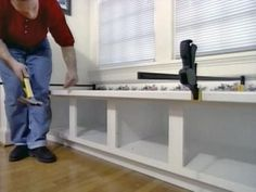 How to Build Window Seat From Wall Cabinets | how-tos | DIY.  This could work for extra storage in DR instead of bench for table