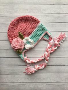 Sombrero del invierno del bebé, del ganchillo, sombrero del earflap, sombrero del invierno de las muchachas, sombrero del invierno de niño, prop de fotografía, sombrero del invierno rosa, prop foto recién