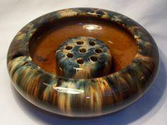 1930's Brush McCoy Pottery Onyx Glazed Planting Bowl & Flower Frog