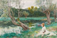 The Athenaeum - Young Girl by the Pond (Louis-Emile Adan - ) Jig Saw, A4 Poster, Poster Prints, Kyffin Williams, French Paintings, Pierre Bonnard, Vintage Artwork, Tumblr Posts, Installation Art