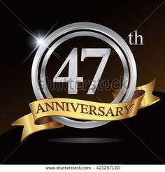47th silver anniversary logo, 47 years anniversary celebration with ring and golden ribbon. - stock vector