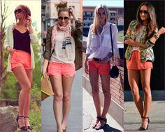 Ideas para combinar shorts coral. El must! de este verano