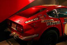 1973 DATSUN 240Z ....1973 East African Safari Rally Champion Car of Shekhar Mehta displayed at the July 2013 Hiroshima City Museum Transportation Exhibition