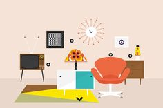 An Illustrated History of the Last 7 Decades of Interior Design via Brit + Co