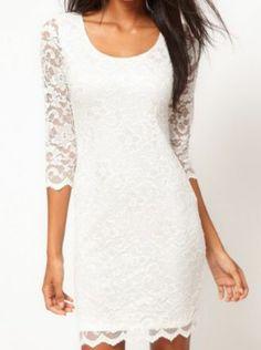 White Half Sleeve Lace Dress