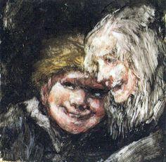 Cabezas de niño y vieja